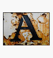 Rusty Letter A Photographic Print