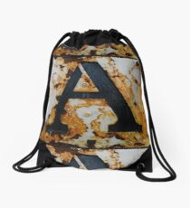 Rusty Letter A Drawstring Bag