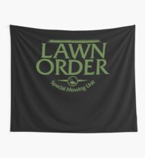 Lawn Order Parody Law & Order Grass Cutting Lawn Mowing Wall Tapestry