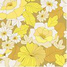 Yellow, Ivory & Brown Retro Flowers  by Eyestigmatic