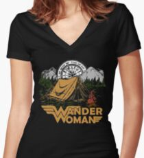 Wander Woman Funny Camping Love Gift for Women T-shirt Women's Fitted V-Neck T-Shirt