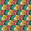 Squirrel Party - Funny, funky squirrel pattern in midcentury modern inspired colors by Davida Fernandez