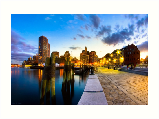 Long Wharf - Boston Skyline at Dusk by Mark Tisdale