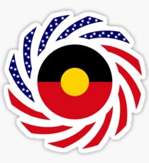 Australian Aboriginal American Multinational Patriot Flag Series Sticker