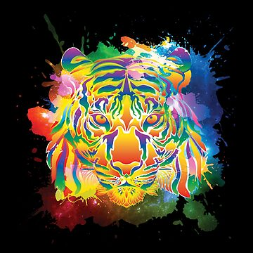 LGBT Pride Month Colorful Rainbow Tiger Splash by WhipLeen