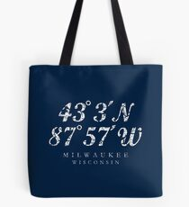 Milwaukee, Wisconsin Coordinates (Ancient White) Tote Bag