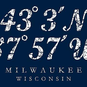 Milwaukee, Wisconsin Coordinates (Ancient White) by theshirtshops