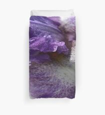 Iris Close Up In Shades of Cream and Purple Duvet Cover