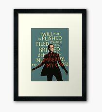 The Prisoner - I Will Not be PUSHED (Blue) Framed Print