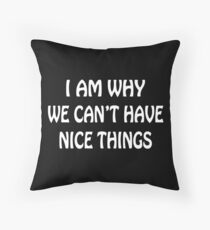 I Am Why We Can't Have Nice Things Funny Geek Nerd Throw Pillow