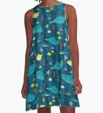 Decorative seamless pattern with sea fish on blue background. A-Line Dress