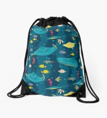 Decorative seamless pattern with sea fish on blue background. Drawstring Bag