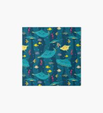 Decorative seamless pattern with sea fish on blue background. Art Board