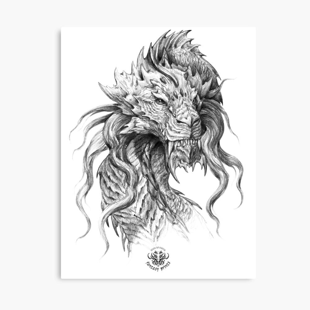 Dark side japanese dragon portrait graphite pencil art on white background canvas print