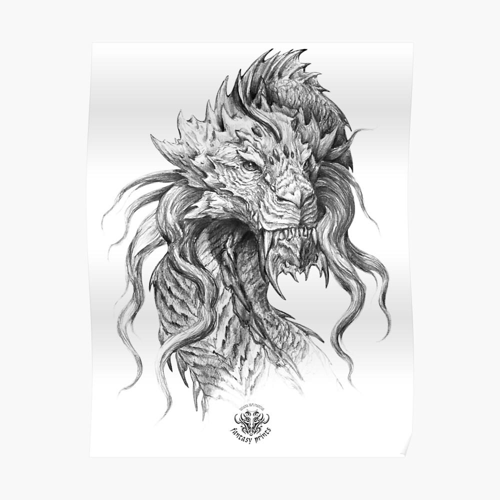Dark side japanese dragon portrait graphite pencil art on white background poster