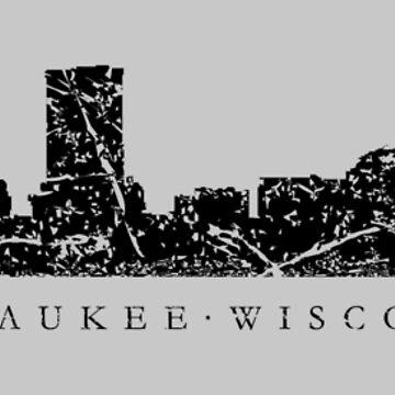 Milwaukee, Wisconsin Skyline (Ancient Black) by theshirtshops