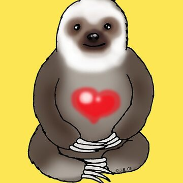 Cute sloth with red heart by CuteCartoon