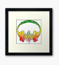 Vintage Reggae Music Headphones Heartbeat Pulse Framed Print