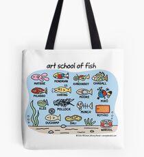 Bolsa de tela escuela de arte de pescado