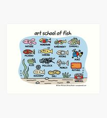 art school of fish Art Print
