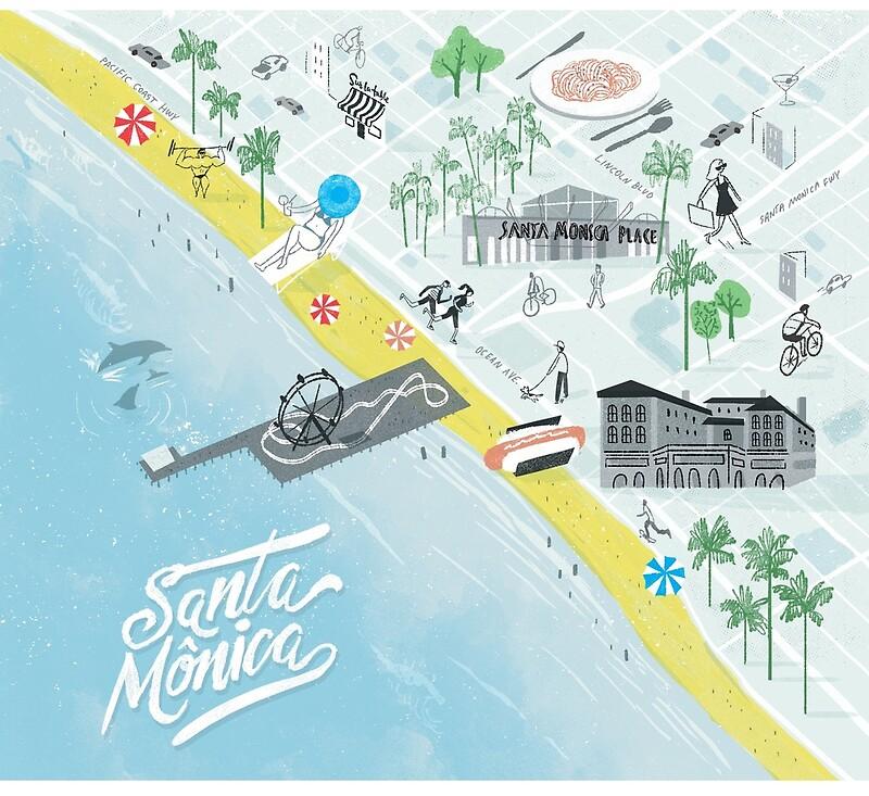 Santa Monica illustrated map | Art Print