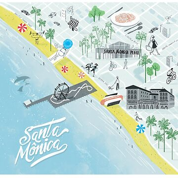 Santa Monica illustrated map by franciscomartns