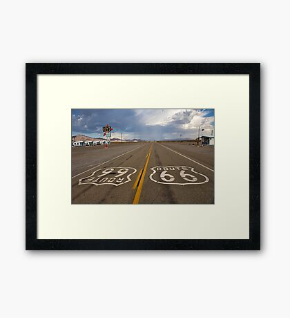 Headed For A Gully Washer On Route 66 Framed Print