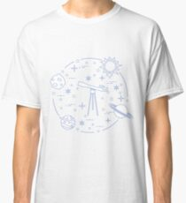 Science: telescope, sun, moon, planets, stars. Classic T-Shirt