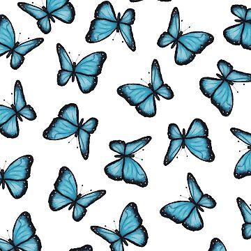 Blue Butterflies, Pattern, From Original Art by Joyce