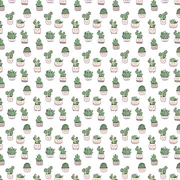 Succulent cactus smiling cute pattern by bigmoments