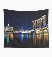 Singapore Sky Lights Wall Tapestry
