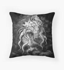 Dark Side Japanese dragon in black stormy clouds, black background | Pencil art digitally remastered Floor Pillow