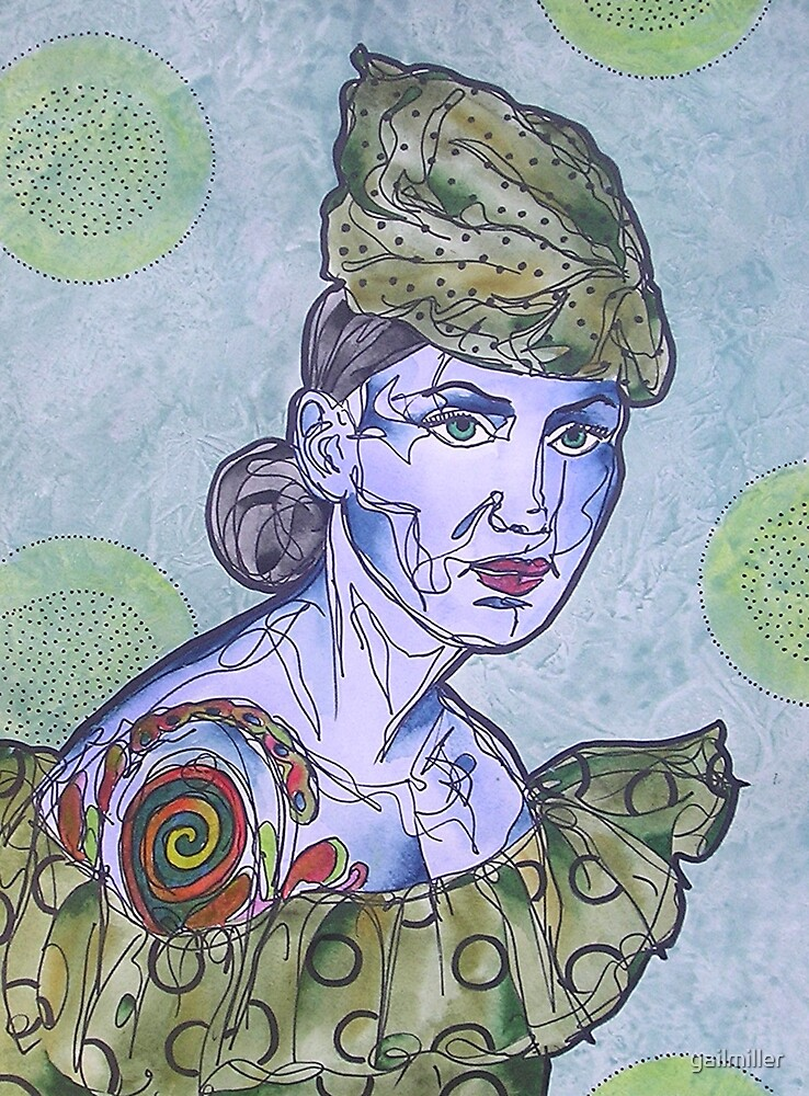 Tattooed Woman In Green by gailmiller