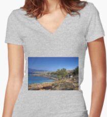 Ftenagia Women's Fitted V-Neck T-Shirt