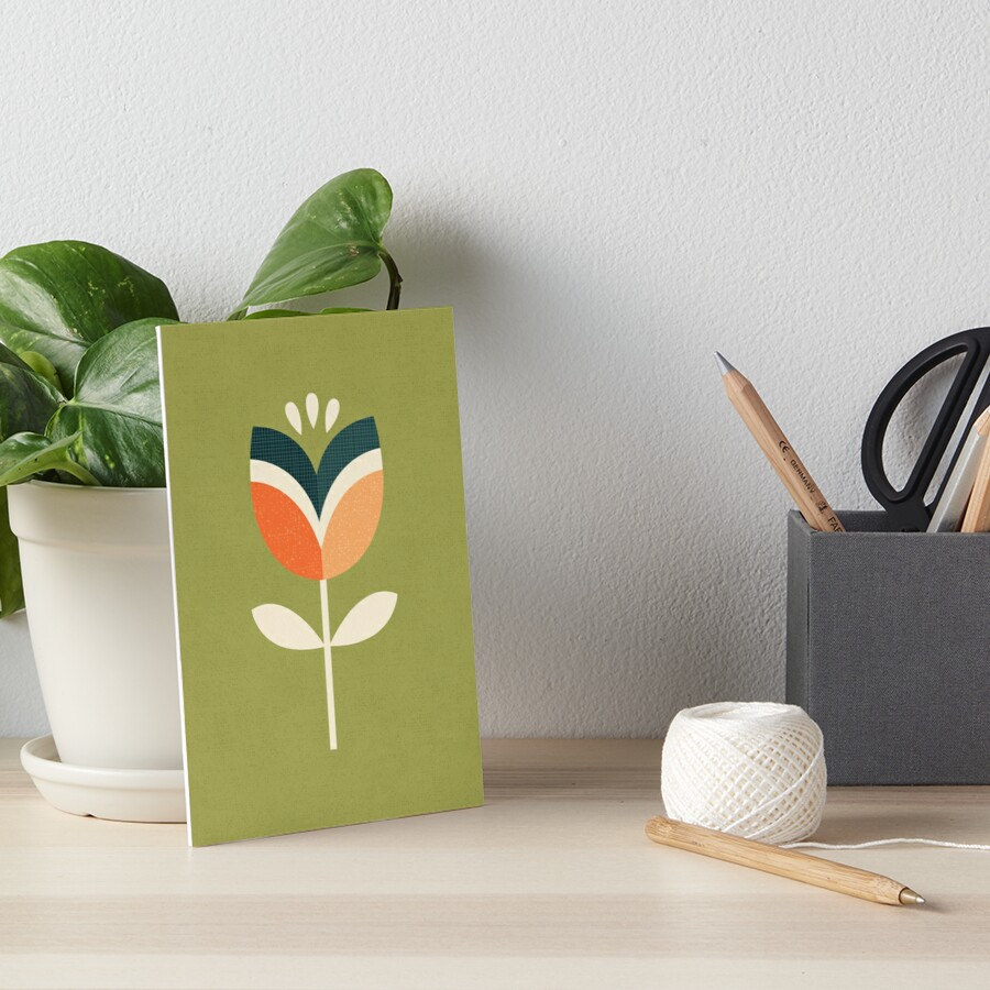 Retro Tulip - Orange and Olive Green Art Board Print