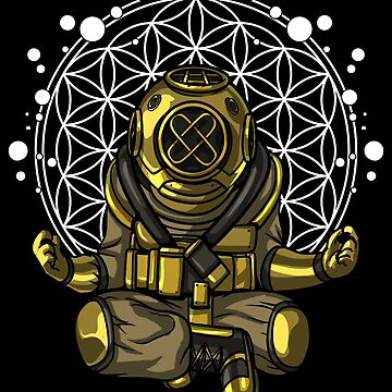 Diver Yoga Buddha Meditation Spiritual Flower Of Life by underheaven