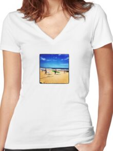 Surfers Austinmer New South Wales Australia Women's Fitted V-Neck T-Shirt