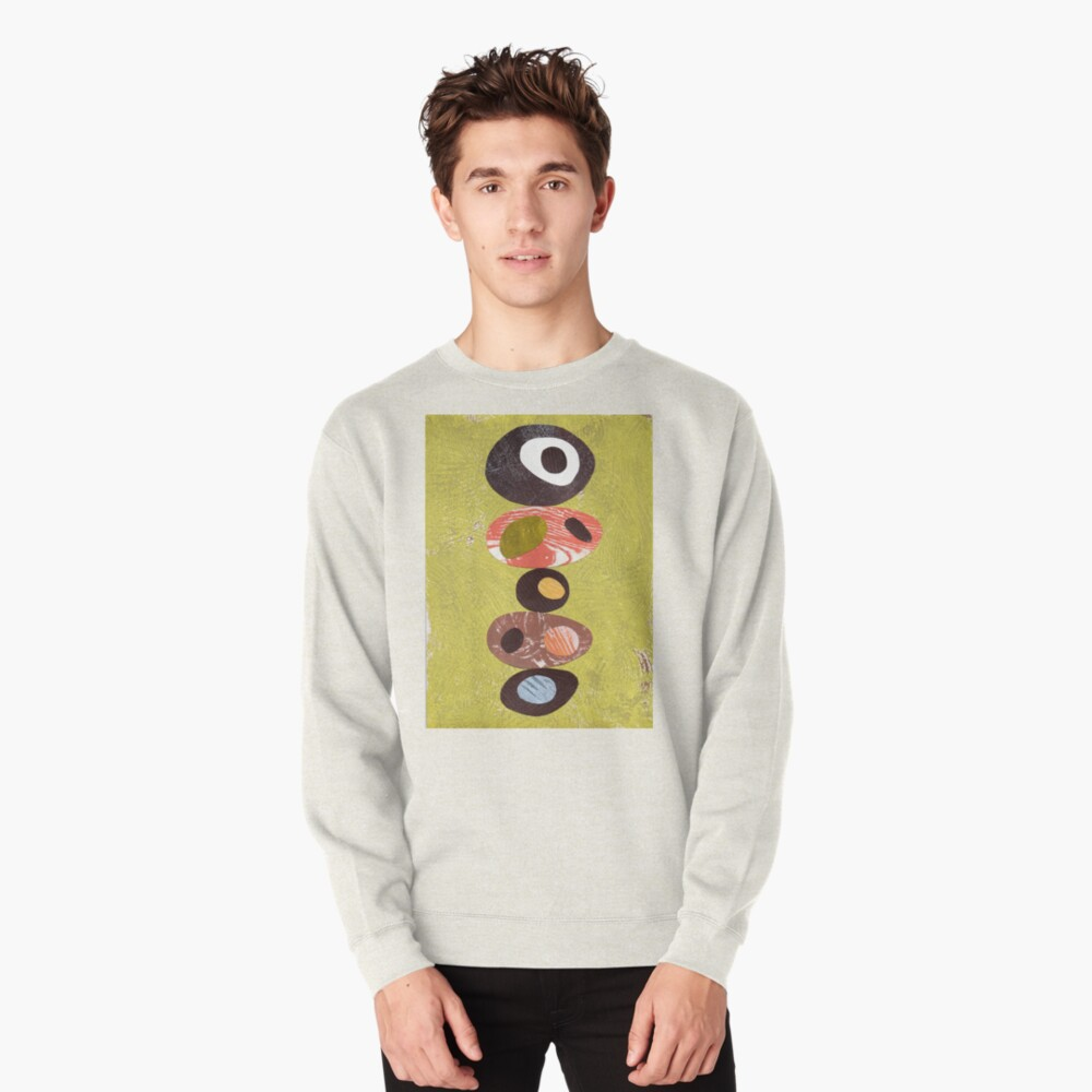 Orange lime green black white retro eames era art Pullover