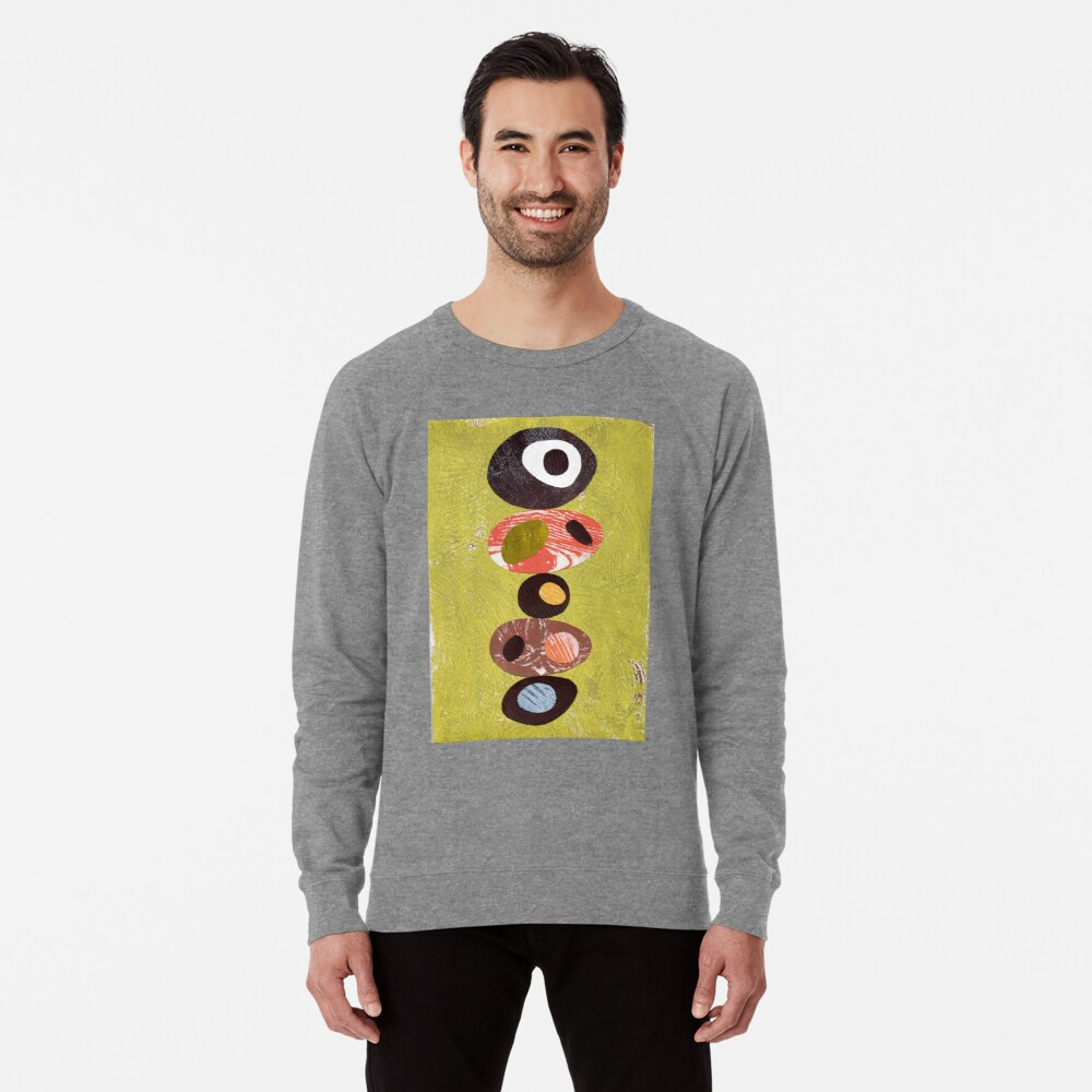 Orange lime green black white retro eames era art Leichter Pullover