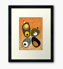 Orange mid century style abstract illustration citrus colors  Framed Print