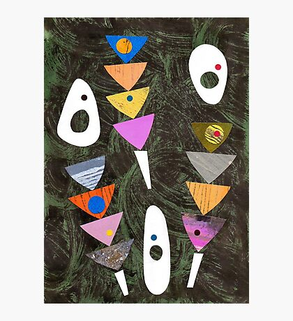Retro atomic triangles abstract collage art Photographic Print