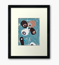 Teal Based Retro Abstract Collage Framed Print