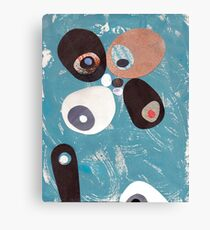 Teal Based Retro Abstract Collage Canvas Print