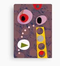 Cool greys, simple shapes retro artwork collage Canvas Print