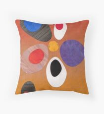Warm rich colour abstract retro styling painting collage Throw Pillow