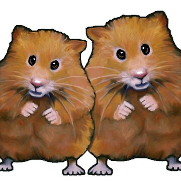 Hamster Couple, Cute Whimsical Art, Two Hamsters by Joyce
