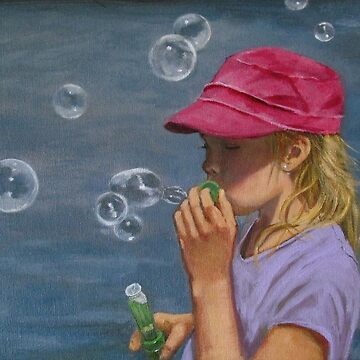 Girl Blowing Bubbles, Original Painting, Childhood by Joyce