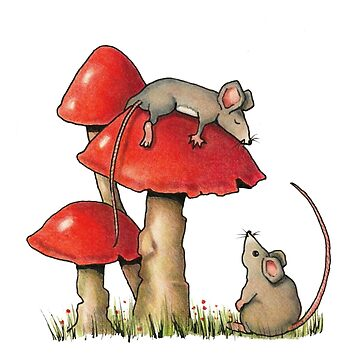 Two Mice and Red Toadstools, Color Pencil Art by Joyce