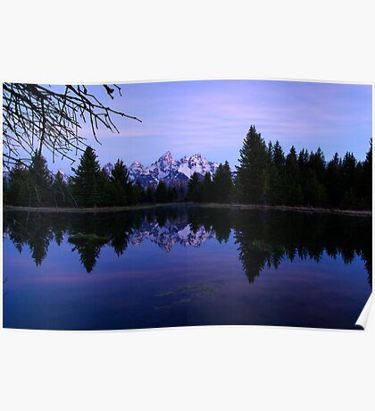Purple Calm - Pre-Dawn View of the Tetons Poster