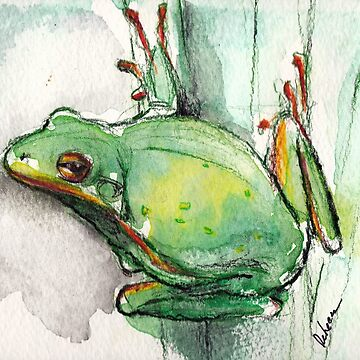 Green Tree Frog - watercolor and prisma pencil painting by tranquilwaters
